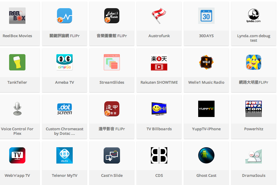 A small sampling of the Chromecast-compatible apps available for Android